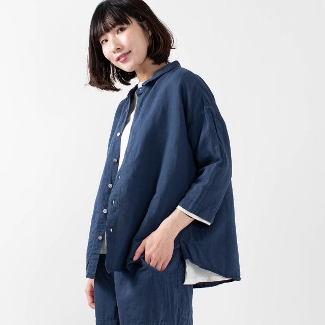 prit 近江晒加工7分袖ショートカラーワイドシャツ