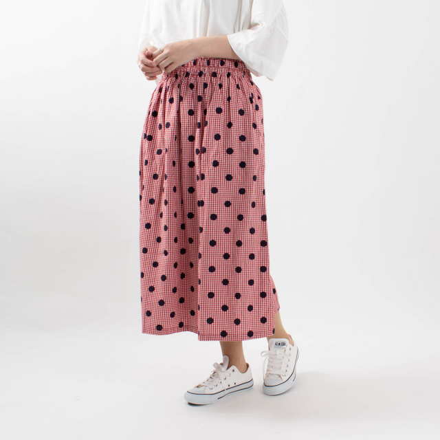 ichi コットンギンガムドットスカート