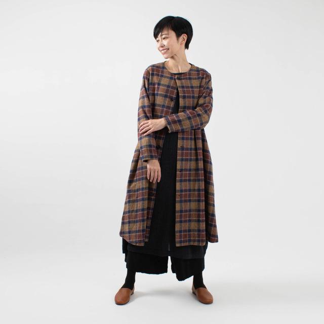 ichi ツイードチェック ロングジャケット