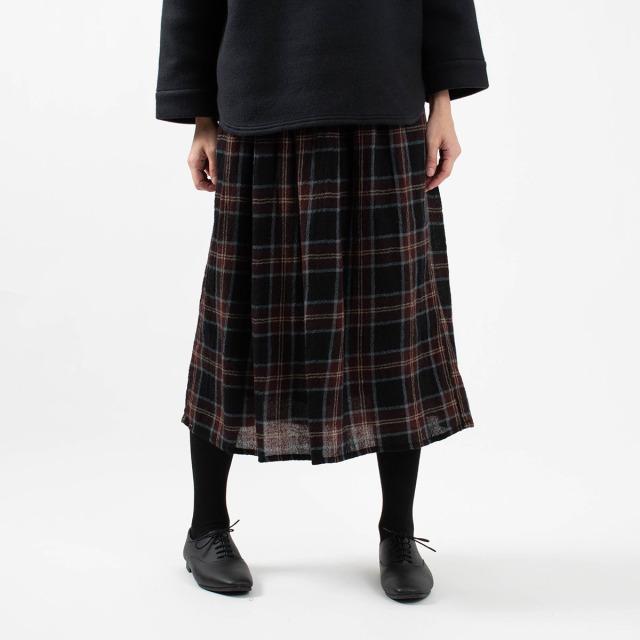 ichi ウールガーゼ チェック柄スカート