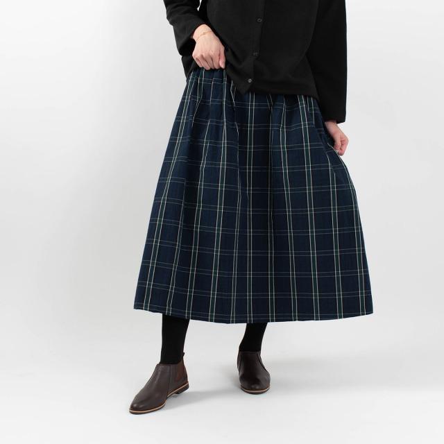 ichi タイプライターチェック柄スカート