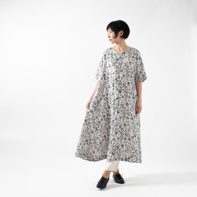 tukuroi by SUN VALLEY リネン総柄プリント2wayワンピース