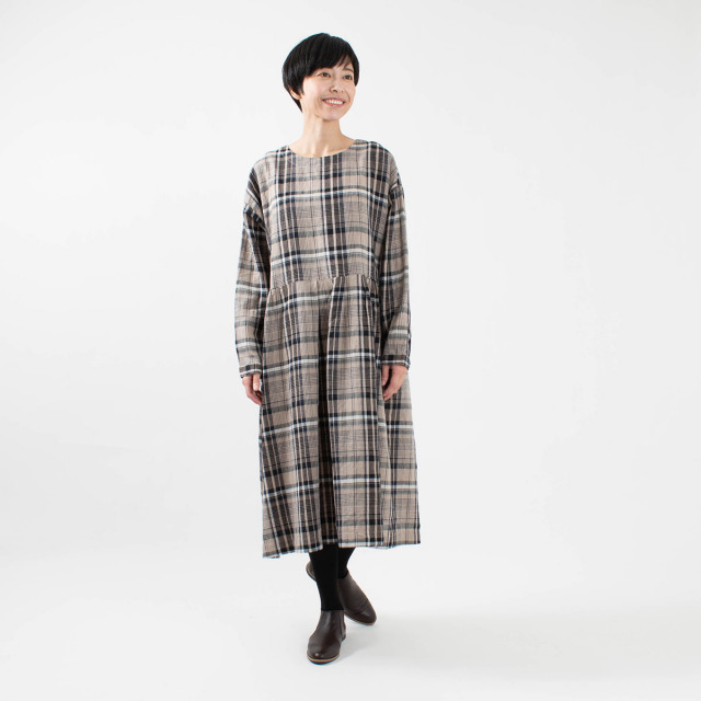 tukuroi by SUN VALLEY リネンチェック柄 ウエスト切替ワンピース