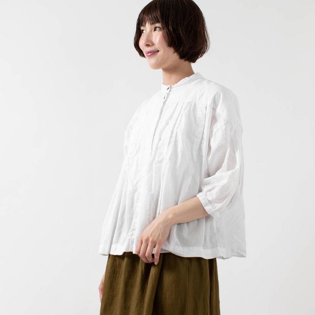 tukuroi by SUN VALLEY 綿麻ローン7分袖ブラウス