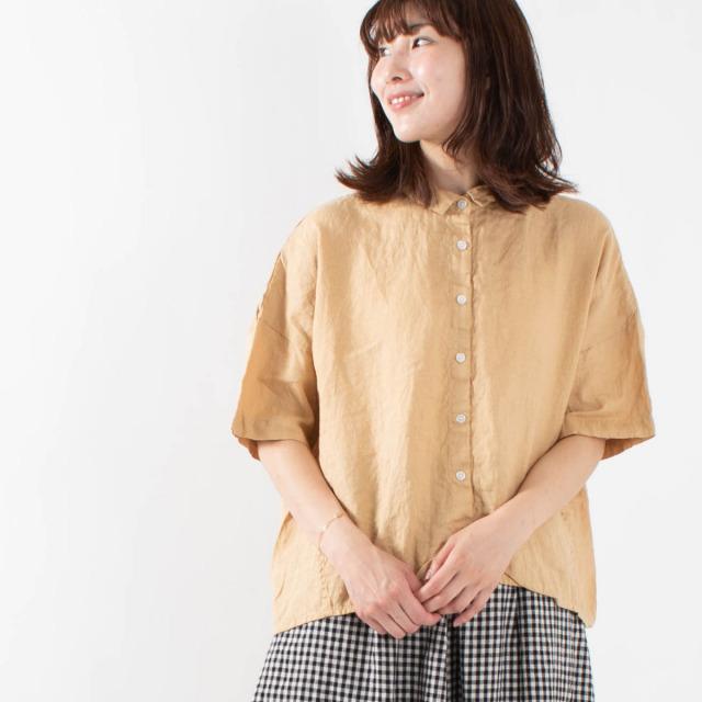 SUN VALLEY フレンチリネン半袖シャツ