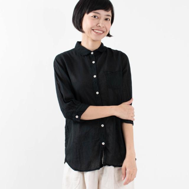 SUN VALLEY ボイル7分袖レギュラーシャツ