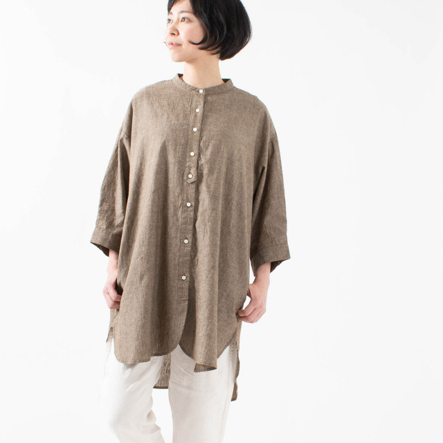 nuance of F スタンドカラーチュニックシャツ