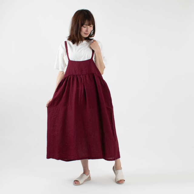 blue willow リネンジャンパースカート
