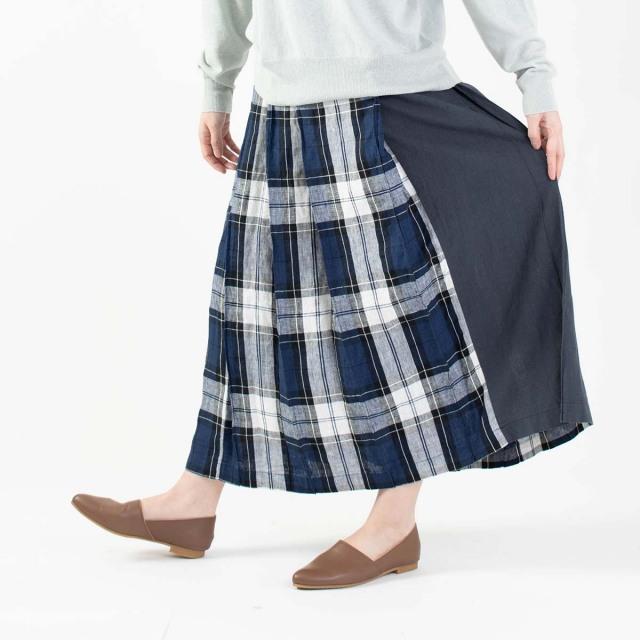 blue willow リネンチェック配色プリーツスカート