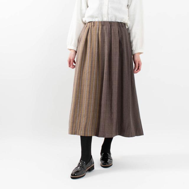 blue willow コットンパネルグレンチェック起毛スカート