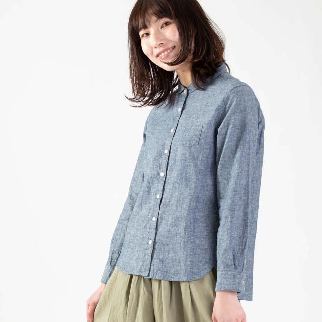 blue willow コットンリネン丸襟シャツ
