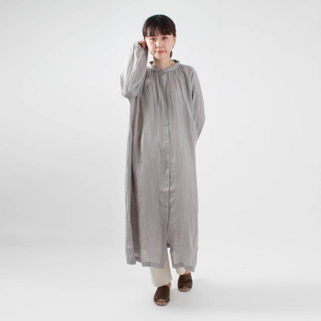 08Mab 麻シャンブレーちび衿ワンピース