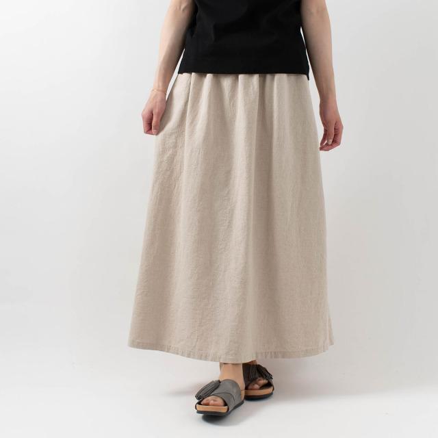 CUORE STORE 綿麻シャーリングフレアスカート