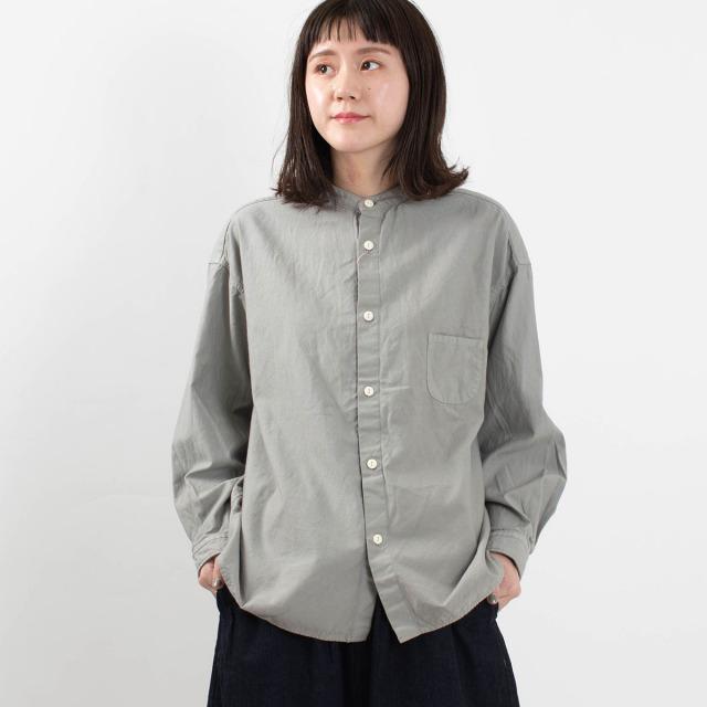 prit バックサテンスタンドカラーシャツ