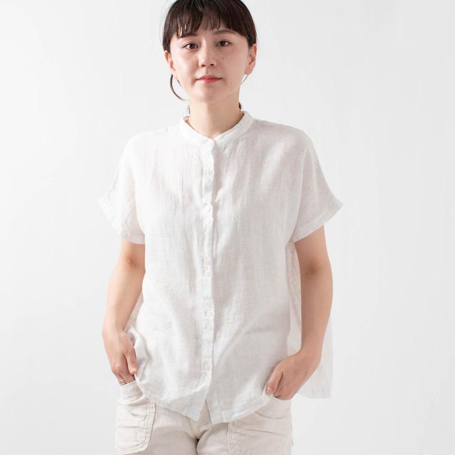 SUN VALLEY 綿麻ガーゼバンドカラーシャツ