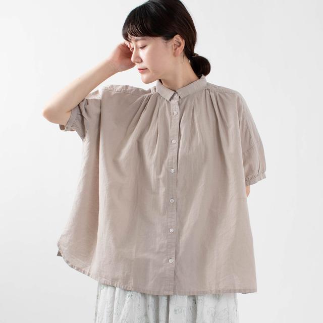 SUN VALLEY 綿麻平織ワイドシャツ