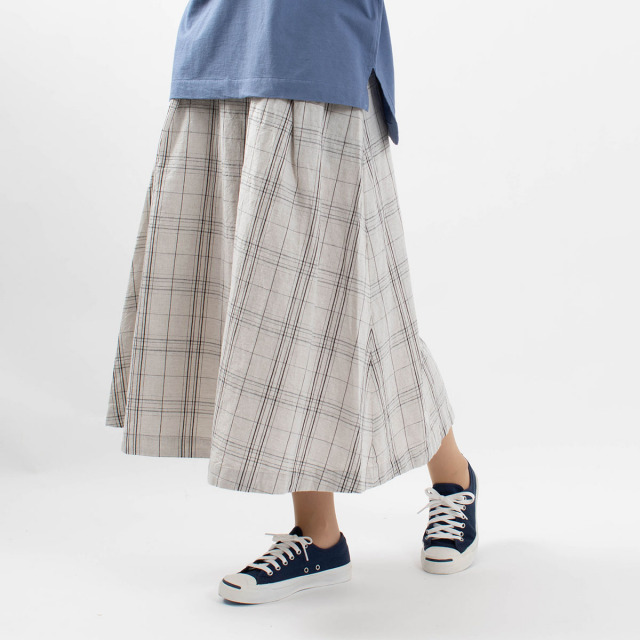 SUN VALLEY 綿麻平織フレアスカート