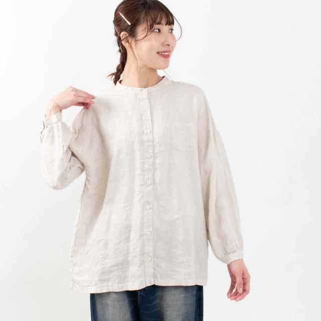 SUN VALLEY フレンチリネンバンドカラーシャツ