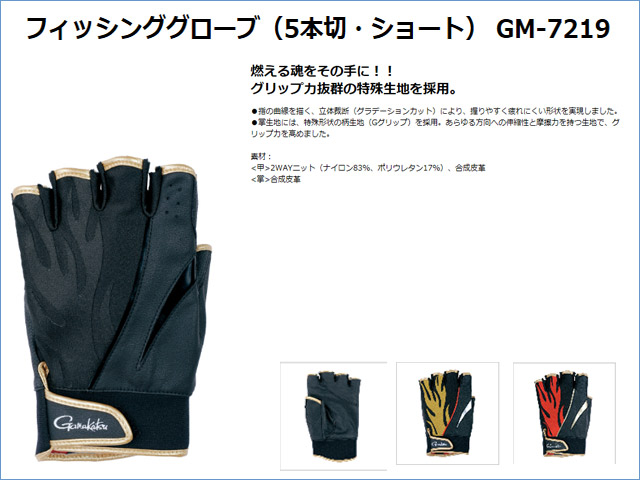 ★2015春夏最新★フィッシンググローブ(5本切・ショート) GM-7219