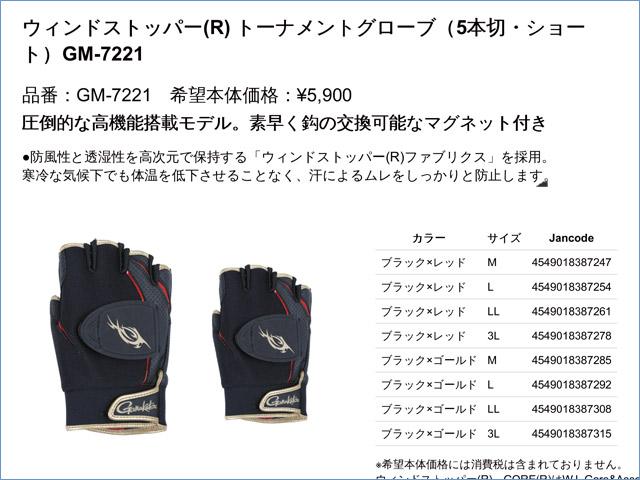 ★2015春夏最新★ウィンドストッパー(R) トーナメントグローブ(5本切・ショート)GM-7221