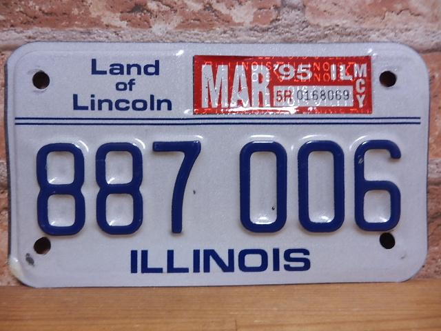 USEDモーターサイクルナンバープレート イリノイ IL
