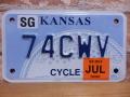 USEDモーターサイクル ナンバープレート  カンザス