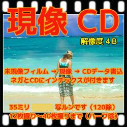 35ミリ フィルム現像+Wインデックス+CD書き込み(画像の荒い解像度4B)