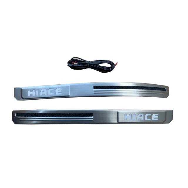 ハイエース200系1-5型 LEDスカッフ プレート ステンレス ホワイト