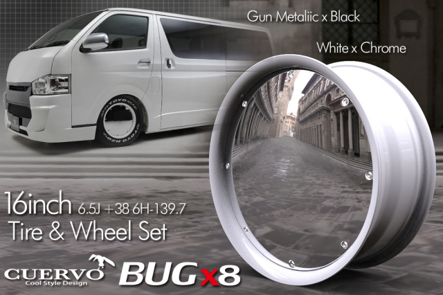 【限定生産品】 CUERVO BUGx8 クエルボバグエイト ハイエース用 16x6.5J+38 6H-139.7 タイヤ&ホイールセット ホワイト×クローム