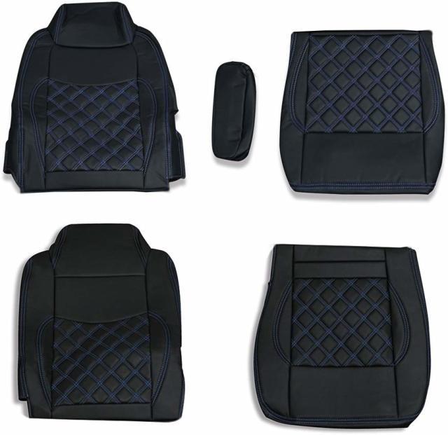 シートカバー いすゞ ギガ用 GIGA シートカバー 運転席 助手席 1台分セット ダイヤキルト ブルーステッチ