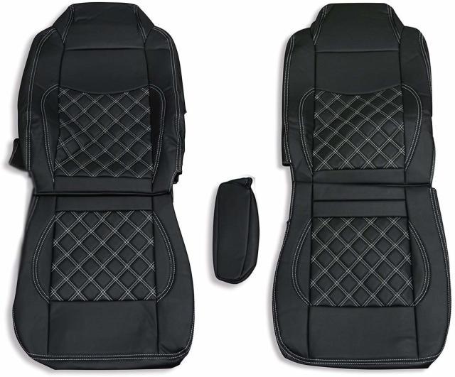 シートカバー いすゞ ギガ用 GIGA シートカバー ブラック 運転席 助手席 1台分セット ダイヤキルト ホワイトステッチ