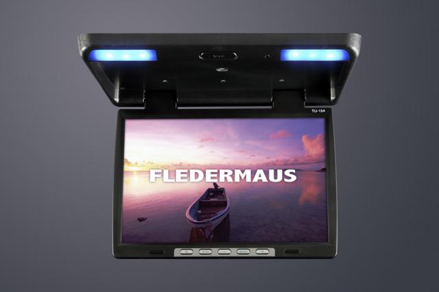 【驚きの大画面!】 FLEDERMAUS フレーダーマウス FLIPDOWN フリップダウンモニター 15.4インチ ブラック