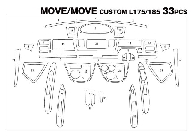 【オリジナル自家塗装用】 インテリアパネル DAIHATSU ダイハツ L175 MOVE ムーヴ 33P 【未塗装品】