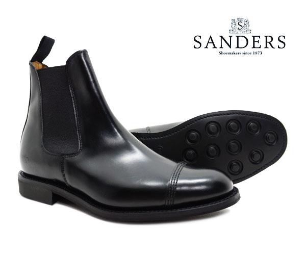 サンダース SANDERS 1140B メンズ ミリタリー チェルシー ブーツ Military Chelsea Boot ブラック ストレートチップ キャップトゥ サイドゴア〔FL〕
