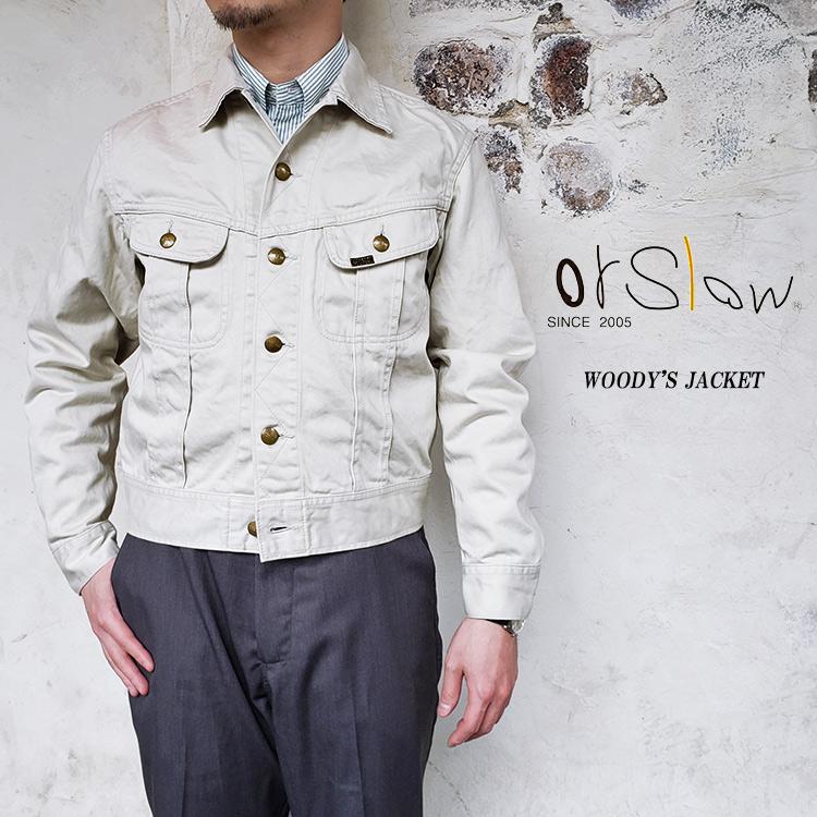 orSlow オアスロウ 01-6008 WOODY'S JACKET メンズ 綿100% コットンサテン アイボリー 〔FL〕