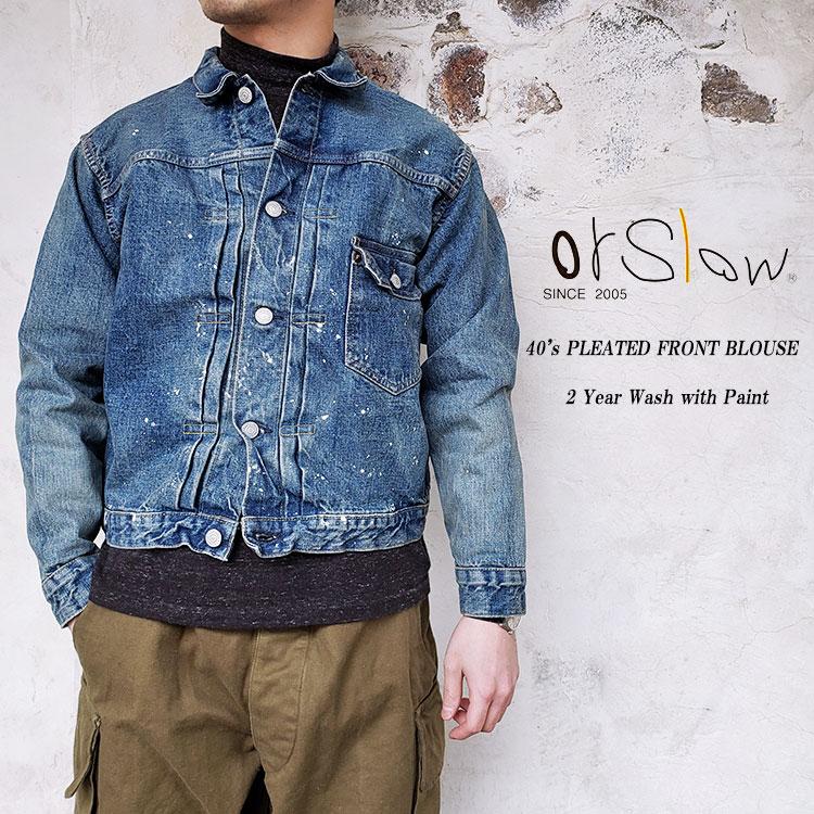 orSlow オアスロウ 03-6011-P84 40'S PLEATED FRONT BLOUSE 2Year Wash with Paint ユニセックス デニムジャケット 〔FL〕