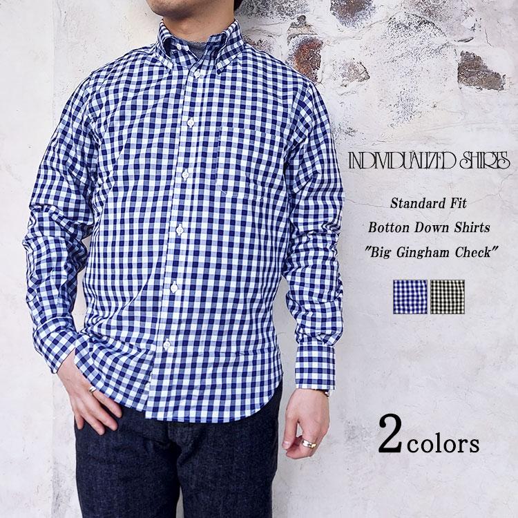 INDIVIDUALIZED SHIRTS インディビジュアライズドシャツ Standard Fit Botton Down Shirts Big Gingham Check スタンダードフィット ボタンダウンシャツ ビッグギンガムチェック ネイビー ブラック メンズ 〔FL〕