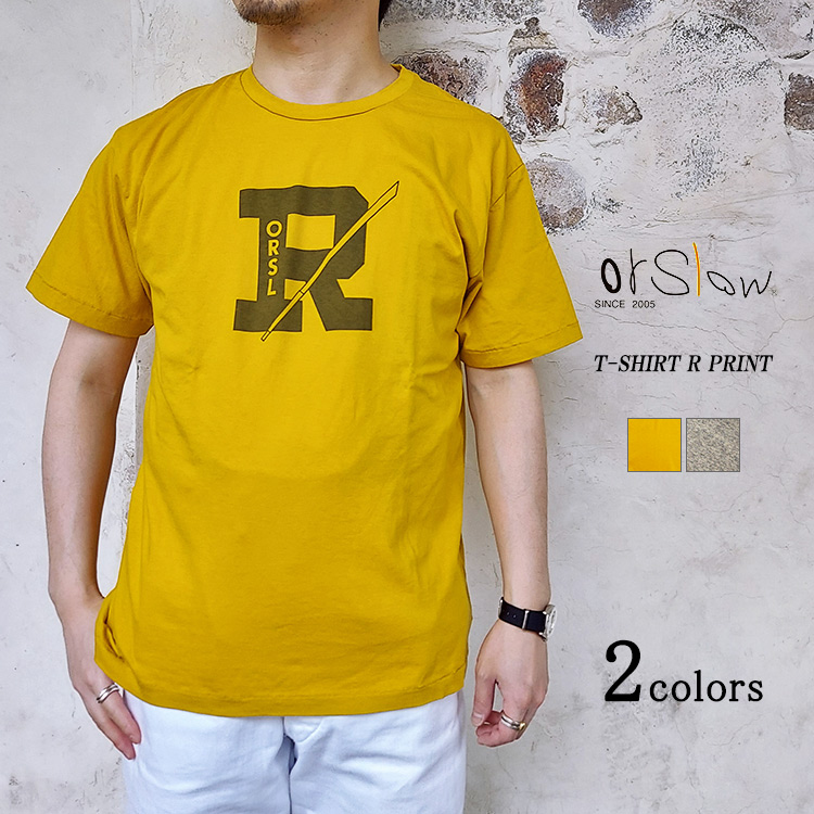 orSlow オアスロウ 01-0018R T-SHIRT R PRINT RプリントTシャツ コットン リヨセル ユニセックス 日本製 〔FL〕