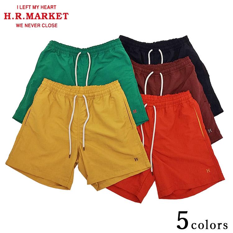 H.R.MARKET ハリウッドランチマーケット Hエンブロイダリー レッグスフリー ナイロンショーツ