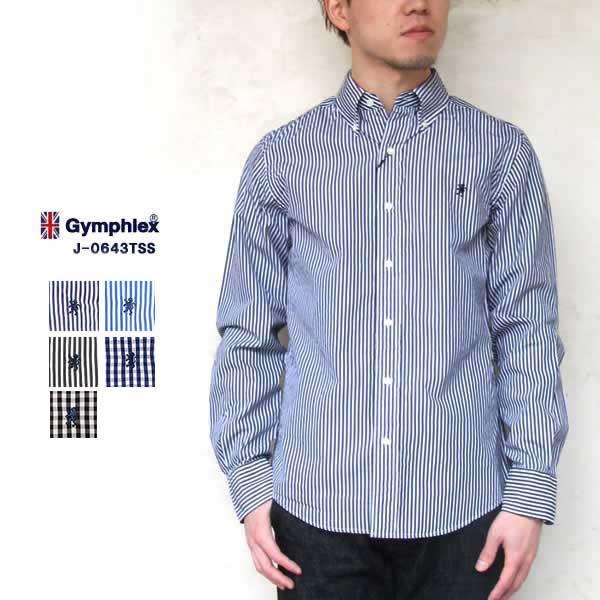 ジムフレックス 長袖 ボタンダウンシャツ ストライプ ギンガムチェック メンズ 2021春夏 GYMPHLEX Button down Shirt Stripe GinghamCheck MENS 21SS ネイビー/ブルー/グレー S/M/L #J-0643TSS