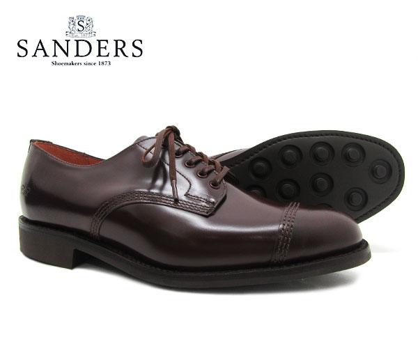SANDERS サンダース Military Derby Shoe ミリタリー ダービー シュー 1128R バーガンディー メンズ ストレートチップ キャップトゥ  シューズ〔FL〕