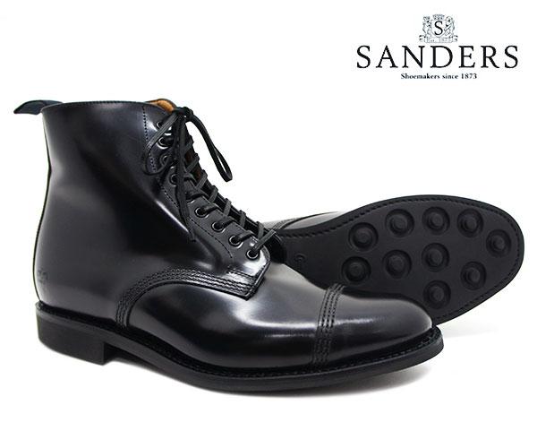 SANDERS サンダース Military Derby Boot ミリタリー ダービー ブーツ 1595B ブラック メンズ ストレートチップ キャップトゥ 〔FL〕