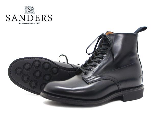 【お手入れ用山羊毛ブラシプレゼント中♪】SANDERS サンダース レディース Military Derby Boot ミリタリー ダービー ブーツ 1615B ブラック ストレートチップ キャップトゥ 〔FL〕