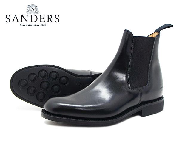 【お手入れ用山羊毛ブラシプレゼント中♪】SANDERS サンダース レディース Chelsea Boot チェルシー ブーツ 1829B ブラック サイドゴア スリッポン 〔FL〕