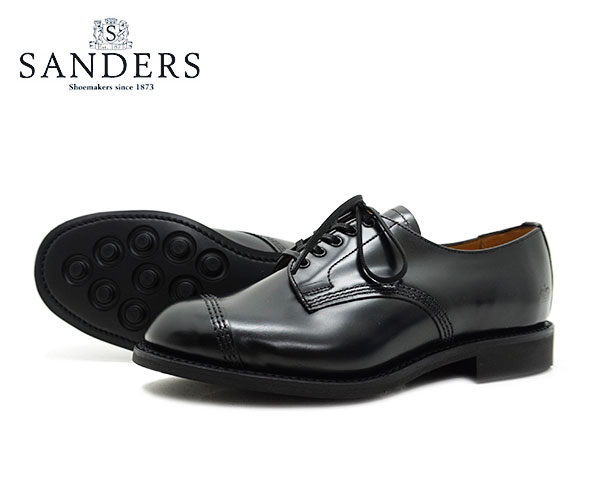 【お手入れ用山羊毛ブラシプレゼント中♪】SANDERS サンダース Military Derby Shoe レディース ミリタリー ダービー シュー 1834B ブラック ビジネス シューズ BLACK 〔FL〕