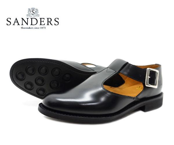 【お手入れ用山羊毛ブラシプレゼント中♪】SANDERS サンダース レディース ミリタリー サンダル Military Sandal 1683B ブラック BLACK 〔FL〕