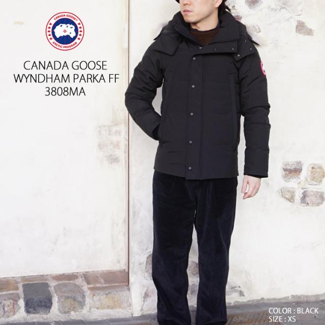 カナダグース メンズ ダウンジャケット ファー フード付き 無地  ウィンダムパーカー フュージョンフィット Canada Goose 【カナダグース】 WYNDHAM PARKA FF 3808MA ブラック/ネイビー XS/S/M/L/XL 正規取扱店