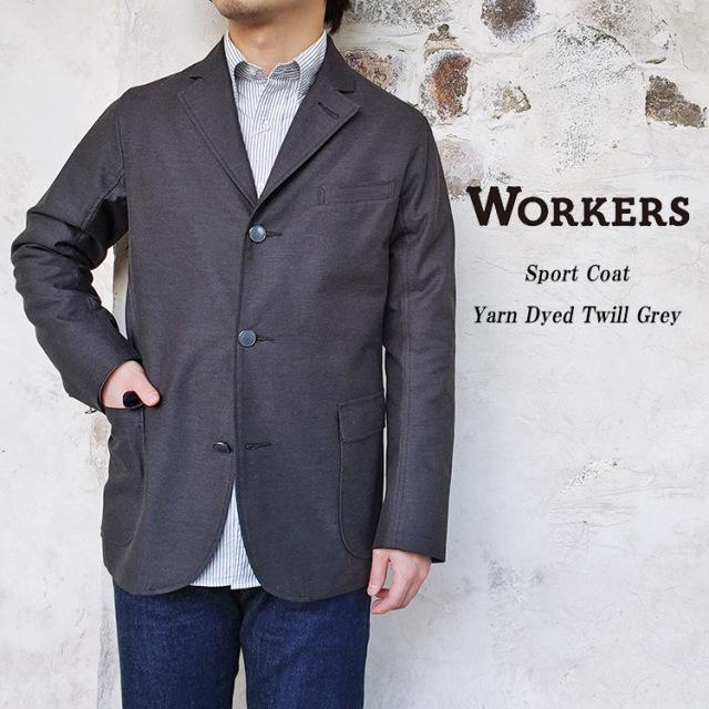 Workers ワーカーズ Sport Coat スポーツコート Yarn Dyed Twill グレー コットン メンズ 〔FL〕
