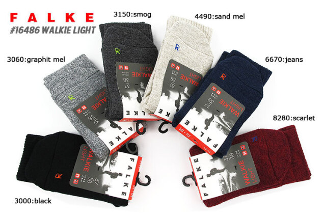 【メール便可】 ファルケ ソックス メンズ レディース ブラック/グレー/チャコールグレー/ベージュ/ブルー/レッド 35-36/37-38/39-41/42-43 FALKE WALKIE #16486
