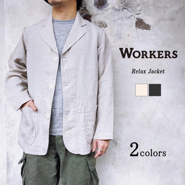 Workers ワーカーズ Relax Jacket リラックスジャケット リネン エクリュ ブラック メンズ 〔FL〕